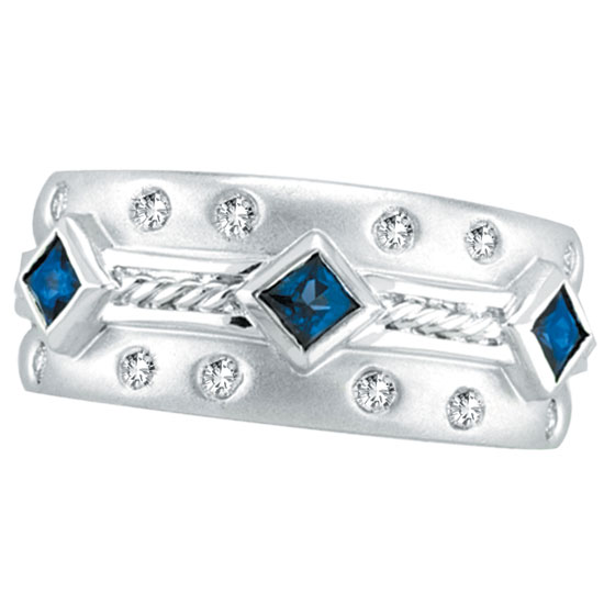 14K White Gold Antique Style Sapphire & .22ct Diamond Fashion Ring. Price: $1175.04