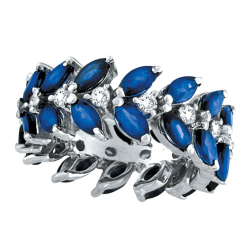 14K White Gold Blue Sapphire and .63ct Diamond Eternity Ring Band. Price: $3415.68
