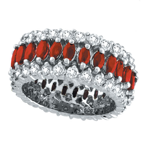14K White Gold 2.39ct Diamond and Ruby Eternity Band. Price: $6140.16