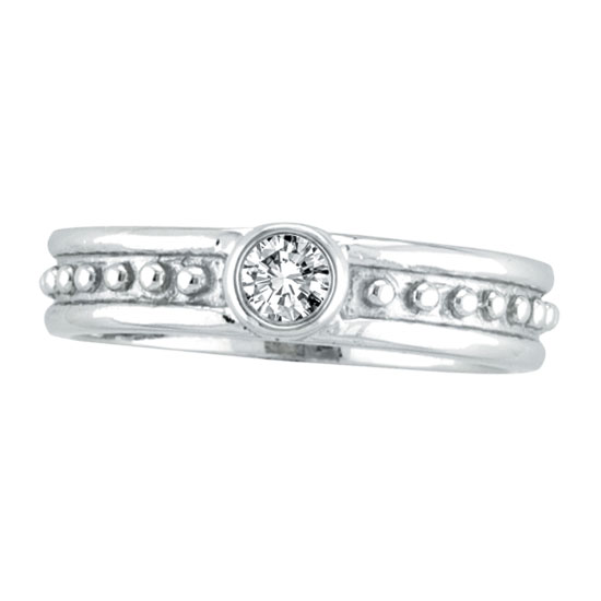 14K White Gold .13ct Diamond Solitaire Designed Ring. Price: $546.24