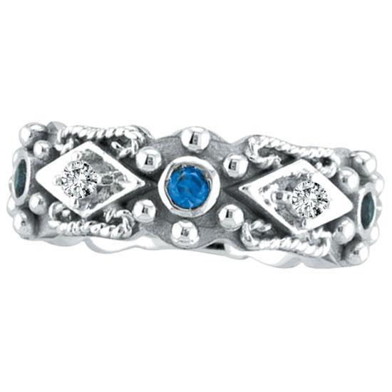 14K White Gold Antique Style Sapphire & .18ct Diamond Fashion Ring. Price: $958.08