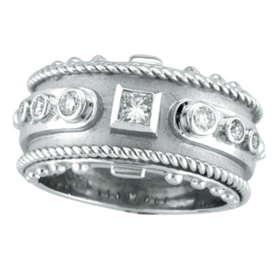14K White Gold Antique Style Detailed .34ct Diamond Ring. Price: $1728.00
