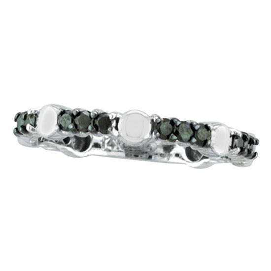 14K White Gold .51ct Black Diamond Eternity Stackable Guard Ring. Price: $627.84