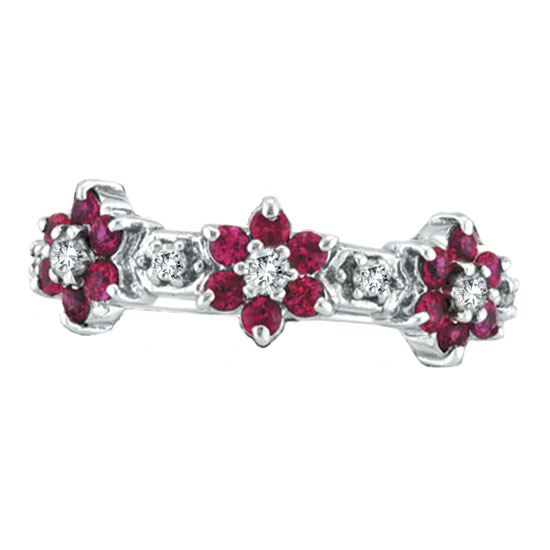 14K White Gold Pink Sapphire & .33ct Diamond Flower Eternity Ring. Price: $816.00