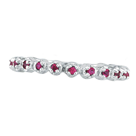 14K White Gold Pink Sapphire Stackable Eternity Guard Ring. Price: $271.68