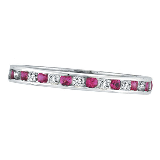 14K White Gold Pink Sapphire & .50ct Diamond Channel Set Eternity Band. Price: $1003.20