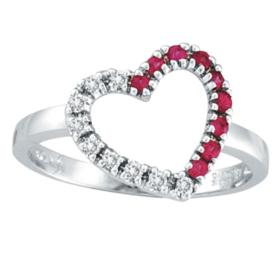 14K White Gold .13ct Diamond & .14ct Pink Sapphire Heart Ring. Price: $381.12