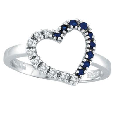 14K White Gold .13ct Diamond & .13ct Sapphire Heart Ring. Price: $381.12