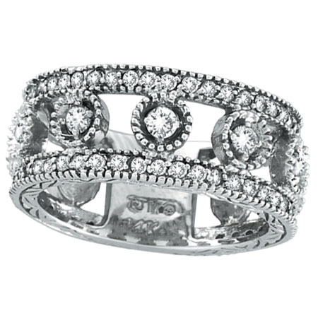 14K White Gold .91ct Diamond Oval Spotted Eternity Ring Band. Price: $1776.00