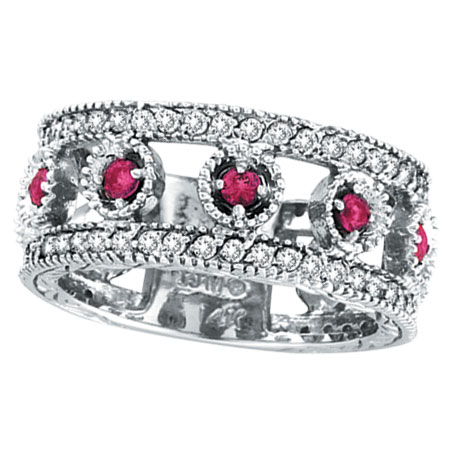 14K White Gold .30ct Pink Sapphire Eternity and .42ct Diamond Ring Band. Price: $1526.40