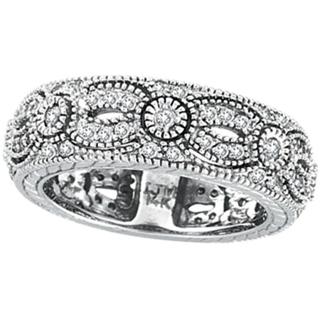 14K White Gold .87ct Diamond Designed Eternity Ring Band. Price: $1509.12