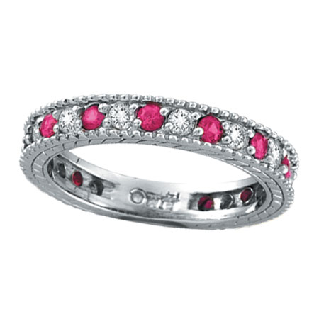 14K White Gold .50ct Diamond and .51ct Pink Sapphire Ring Band. Price: $1430.40