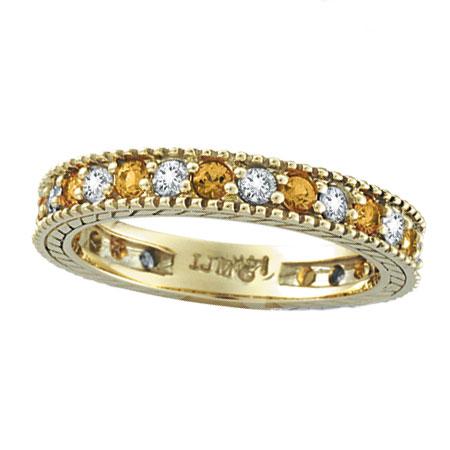 14K Yellow Gold 0.50ct Diamond and 0.40ct Yellow Sapphire Eternity Ring Band. Price: $1430.40