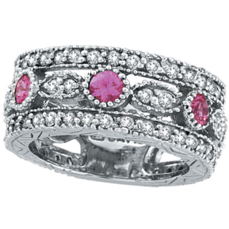 14K White Gold .63ct Pink Sapphire and 1.51ct Diamond Eternity Ring Band. Price: $2707.20