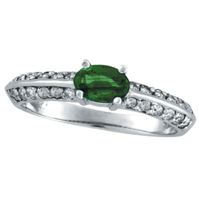 14K White Gold Prong Setting .42ct Emerald and .38ct Diamond Ring. Price: $708.48