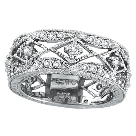 14K White Gold 1.0ct Diamond Antiqued Eternity Ring Band. Price: $1785.60