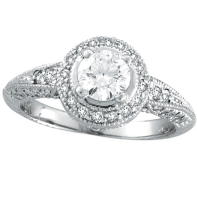 14K White Gold Antique Style 1.08ct Diamonds Around and .65ct Center Diamond Engagement Ring. Price: $6489.60