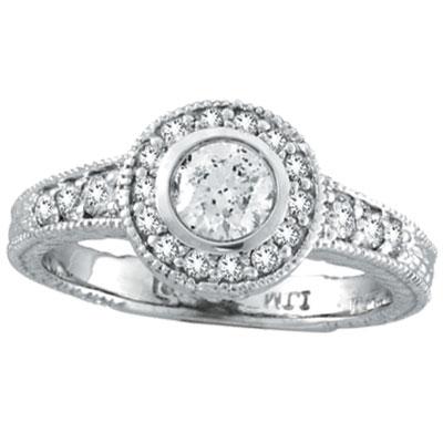 14K White Gold .80ct Diamond Bezel Engagement Ring. Price: $3144.96