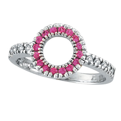 14K White Gold .14ct Diamond & .22ct Pink Sapphire Circle Ring. Price: $537.60