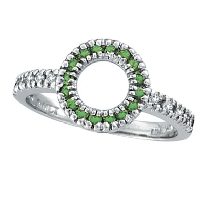 14K White Gold .14ct Diamond & .21ct Tsavorite Circle Ring. Price: $537.60