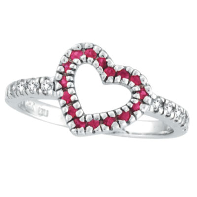 14K White Gold .25ct Pink Sapphire & .19ct Diamond Heart-Shaped Ring. Price: $537.60