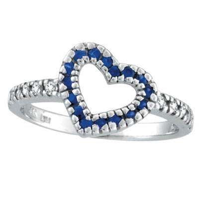 14K White Gold .27ct Sapphire & .19ct Diamond Heart-Shaped Ring. Price: $537.60