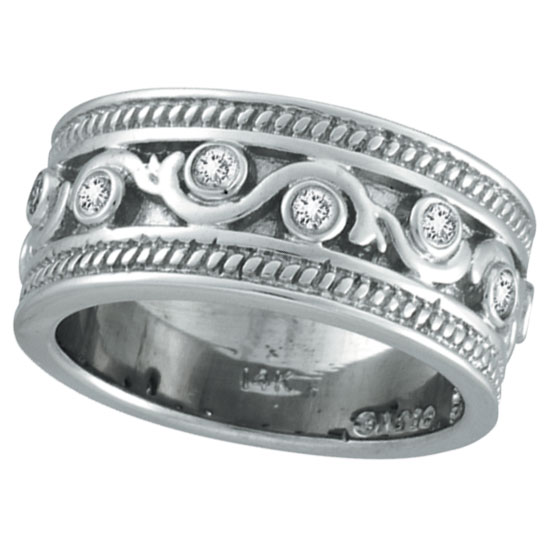14K White Gold .24ct Antique Rustic Style Diamond Band Ring. Price: $1353.60