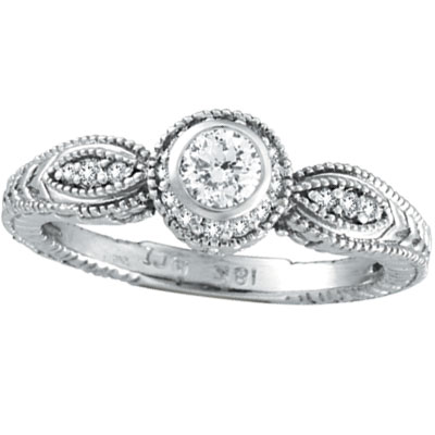 14K White Gold .40ct Bezel Diamond Rustic-Style Ring. Price: $1234.56