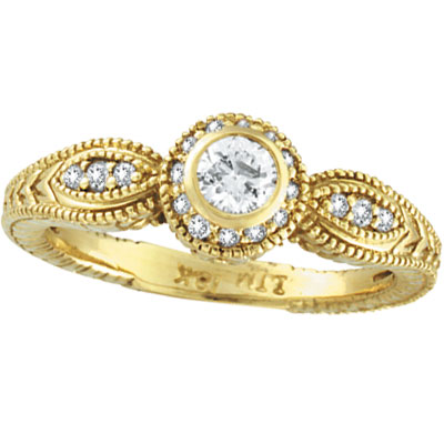 14K Yellow Gold Bezel Set .40ct Diamond Rustic-Style Ring. Price: $1234.56