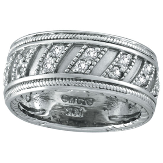 14K White Gold Rustic-Style .53ct Diamond Eternity Band Ring. Price: $1358.40