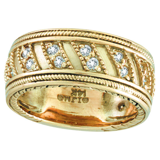 18K Yellow Gold Rustic-Style .53ct Diamond Band Eternity Ring. Price: $1638.72