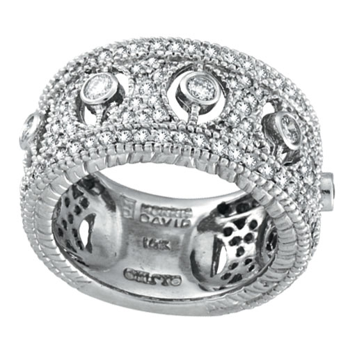 14K White Gold 1.66ct Diamond Rustic-Style Eternity Ring. Price: $3360.00