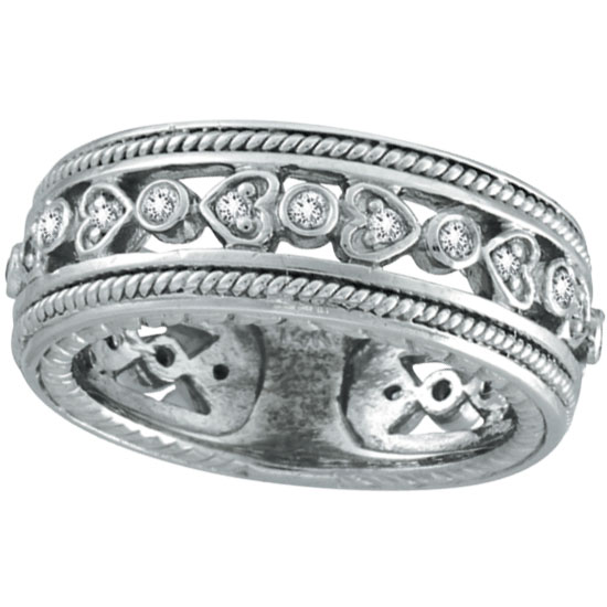 14K White Gold Antique-Style .33ct Diamond Band Eternity Ring. Price: $1171.20