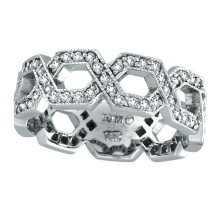 14K White Gold .75ct Diamond Open Hexagon-Shaped Eternity Ring. Price: $1296.00