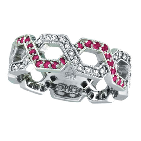 14K White Gold .41ct Pink Sapphire & .34ct Diamond Twisted Open Hexagonal-Shaped Eternity Ring. Price: $1084.80