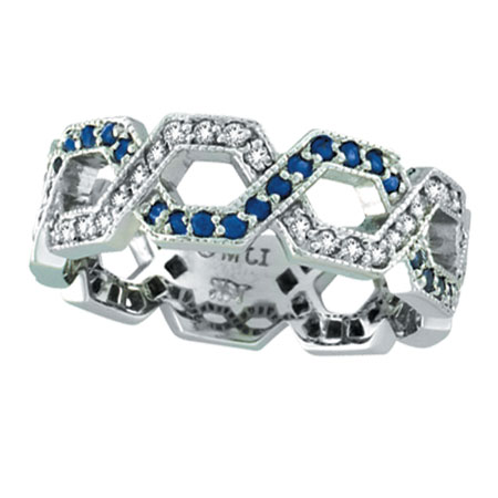 14K White Gold .46ct Sapphire & .34ct Diamond Twisted Open Hexagonal-Shaped Eternity Ring. Price: $1084.80