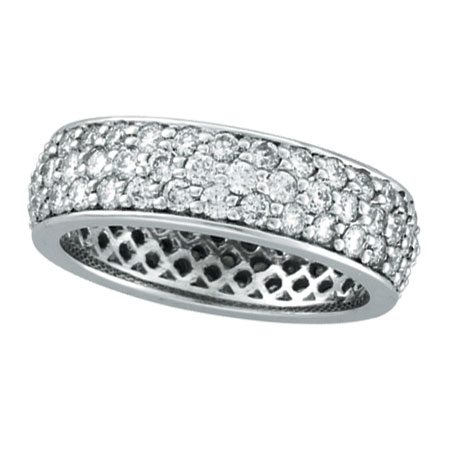 14K White Gold Eternity 2.23ct Pave Diamond Band Ring. Price: $3503.04