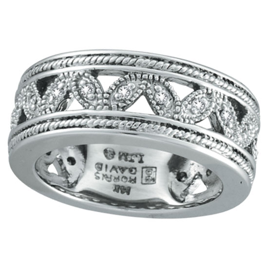 14K White Gold Antique Style .25ct Diamond Band Eternity Ring. Price: $1200.00