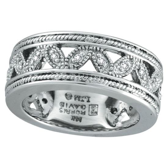 14K White Gold Antique Style .25ct Diamond Band Eternity Ring. Price: $1200.00