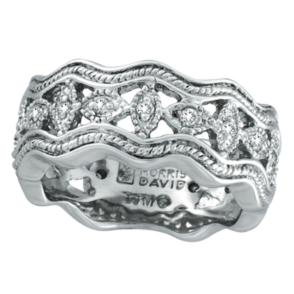 14K White Gold Antique Style .22ct Diamond Zigzag Band Ring. Price: $1056.00