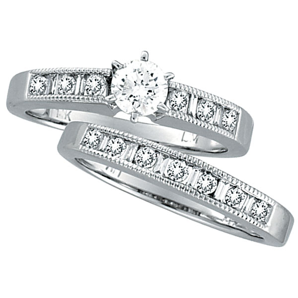 14K White Gold .40ct Center Diamond & .91ct Baguette & Round Diamond Bridal Ring Set H-I SI2. Price: $3417.60