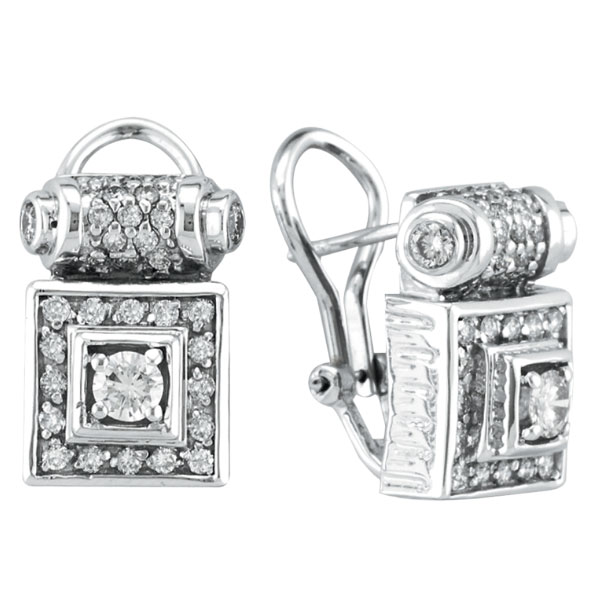 18K White Gold Antique-Style 1.5ct Diamond Scroll-Design French-Style Post Earrings. Price: $3070.08