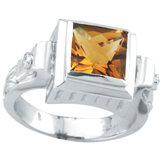 14K White Gold 2.44ct Citrine & .05ct Diamond Antique Style Square Ring. Price: $613.44