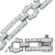 14K White Gold Diamond Long Link Bracelet