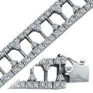 14K White Gold Designer Diamond T Style Link Bracelet