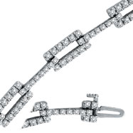 14K White Gold 2.54ct Diamond Long Link Bracelet