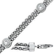 14K White Gold 0.32ct Diamond 7 Pointer & Double Chain Bracelet
