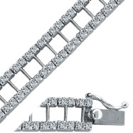 14K White Gold 3.7ct Diamond I Style Link Bracelet