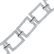 14K White Gold 5.02ct Diamond Open Square Link Bracelet