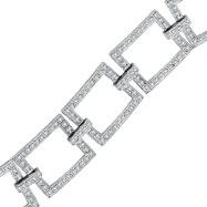 14K White Gold 5.02ct Diamond Open Square Link Bracelet